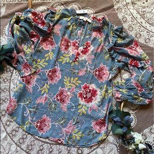 NWT S Loft floral blue ruffled blouse shirt peony